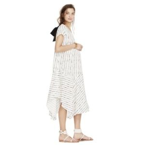Hatch   Maternity Striped Midi Dress Short Sleeve